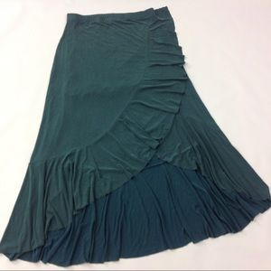 New Moulinette Soeurs Ruffled Green Skirt Size L